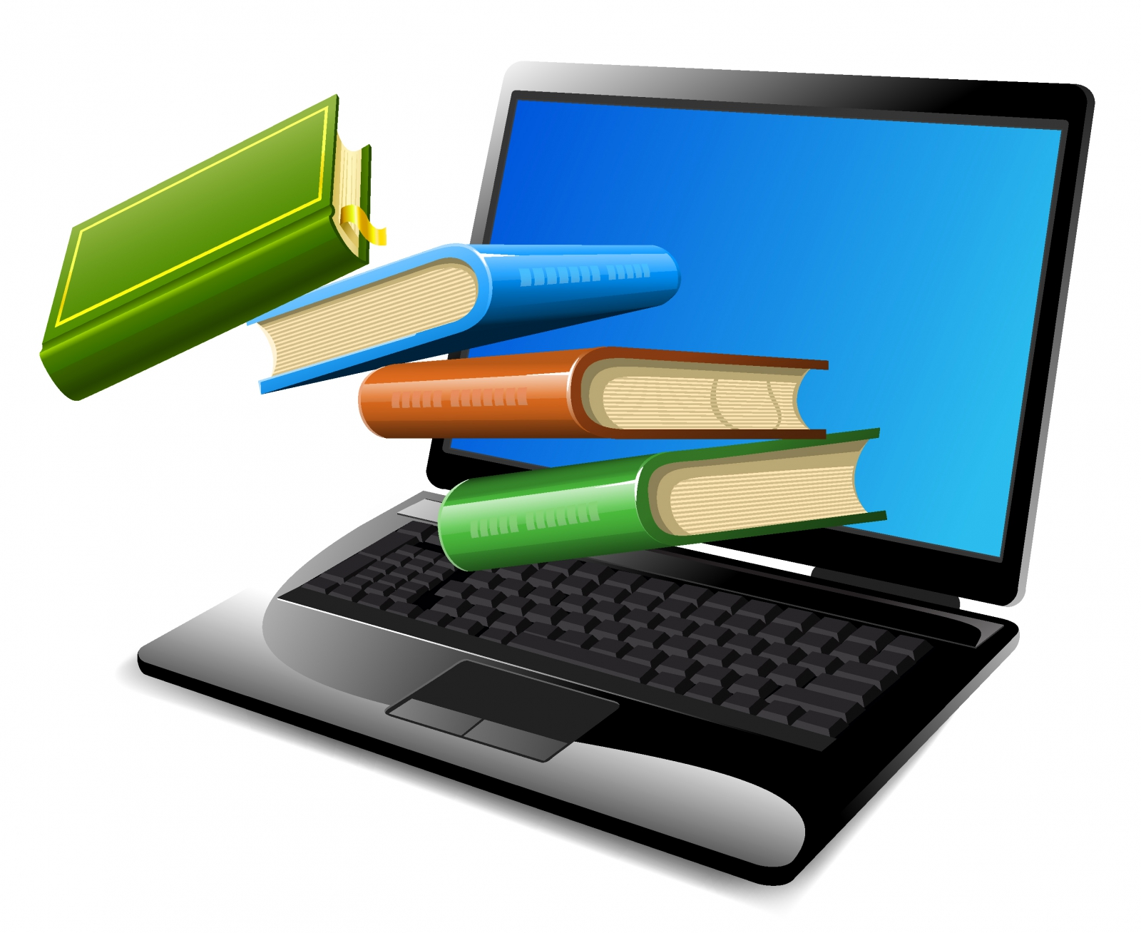 Picture of a computer and books that is a link to our eResources page.