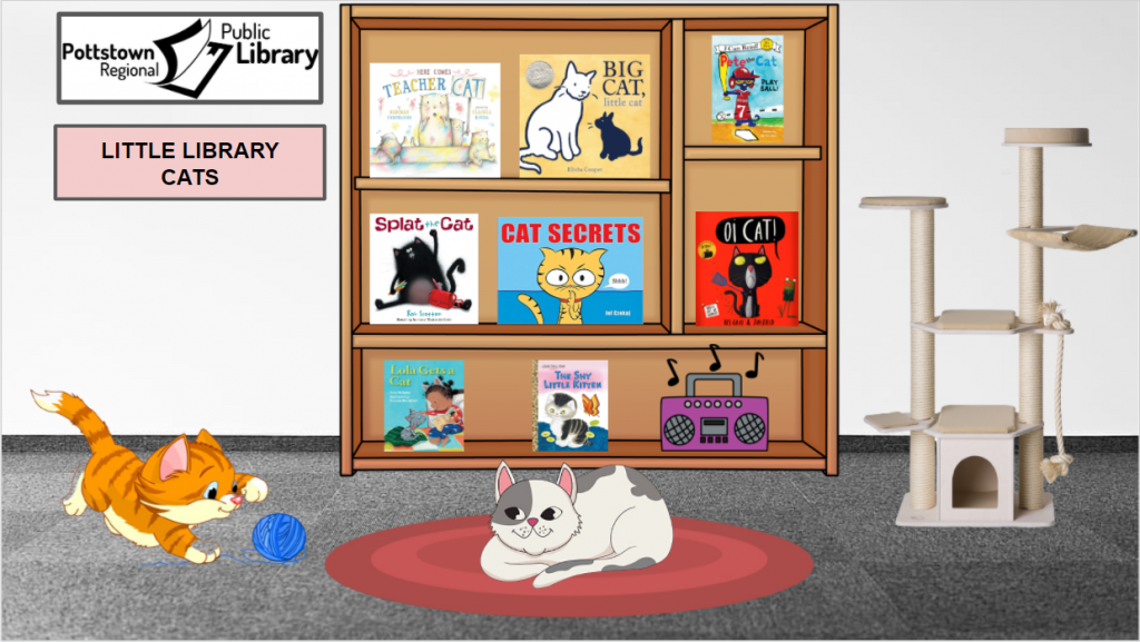 Little Library based on cats. Image is a link that takes you to a Google Slides Presentation.