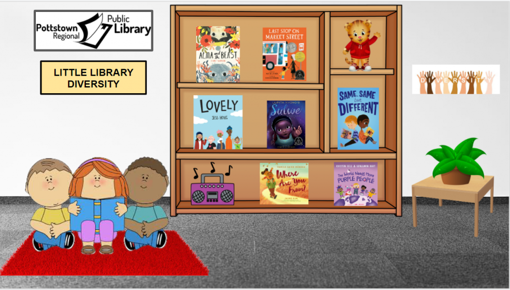 Little Library based on Diversity. Image takes you to a Google Slides Presentation.