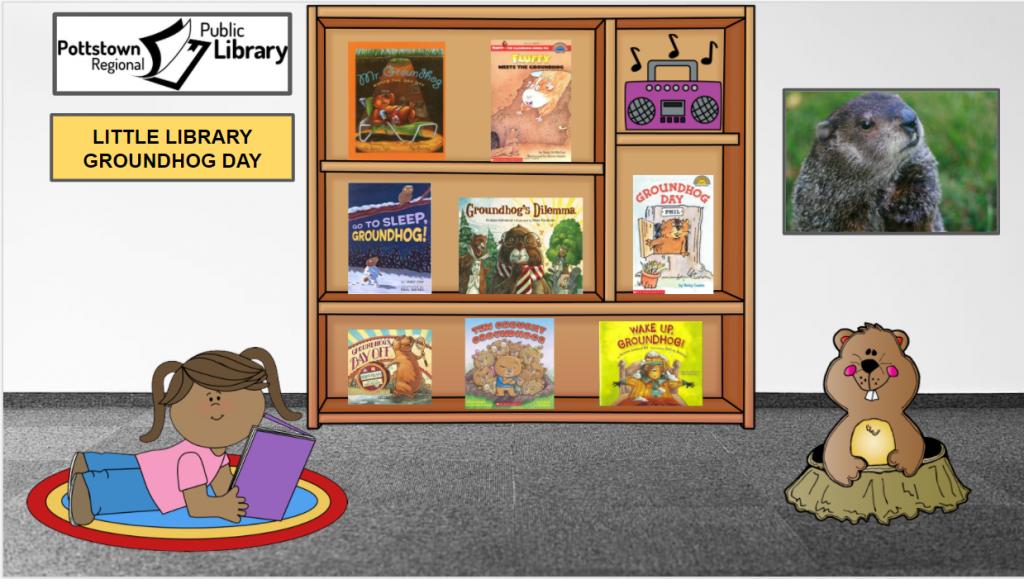 Little Library based on Groundhog Day. Image takes you to Google Slides Presentation.