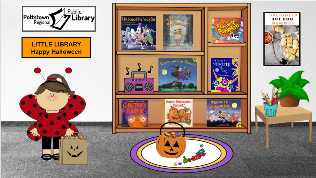 Little library based on Halloween. Image is a link that takes you to a Google Slides presentation.