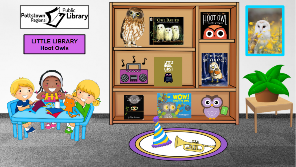 Little Library based on Hoot Owls. Image takes you to a Google Slides Presentation.