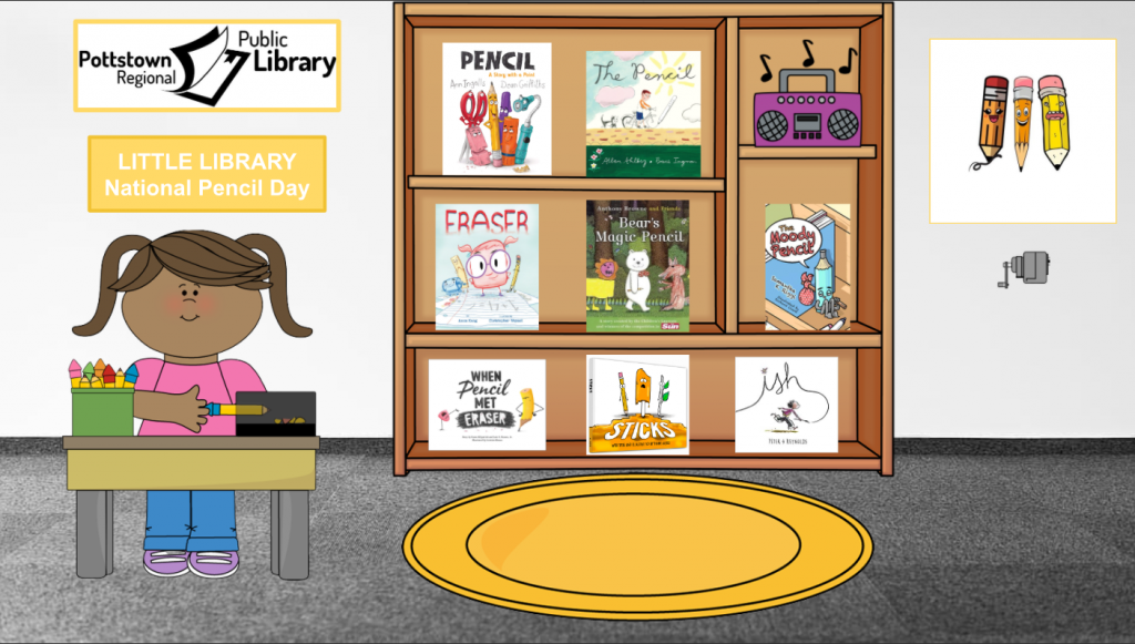 Little Library for National Pencil Day, link takes you to Google Slides