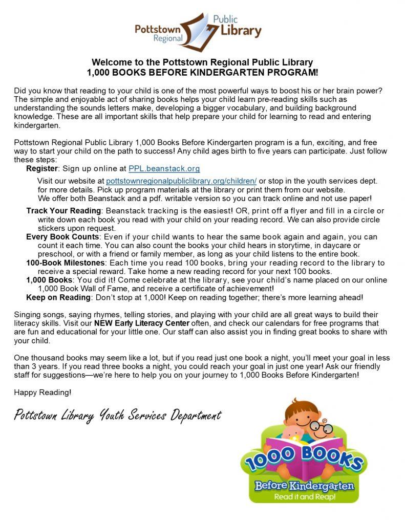 1000 Books Before Kindergarten Letter