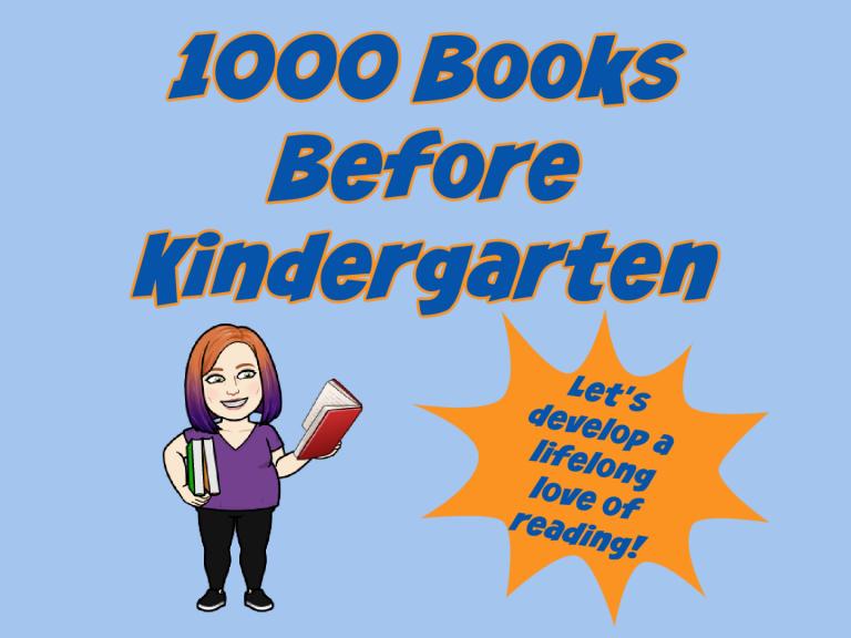 Bitmoji sign for 1000 books before kindergarten
