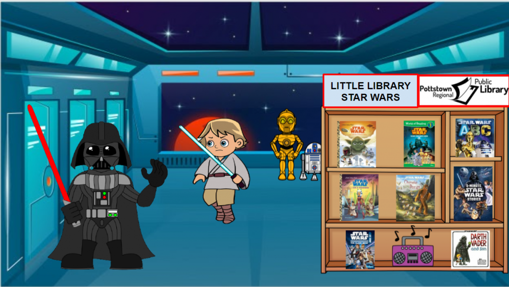 Little Library based on Star Wars for Star Wars Day. Link takes you to google slide.