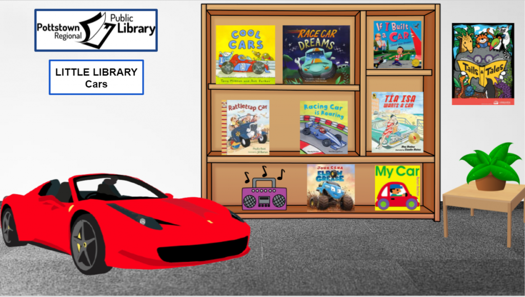 Little Library about Cars. Image is a link that takes you to a Google slides presentation