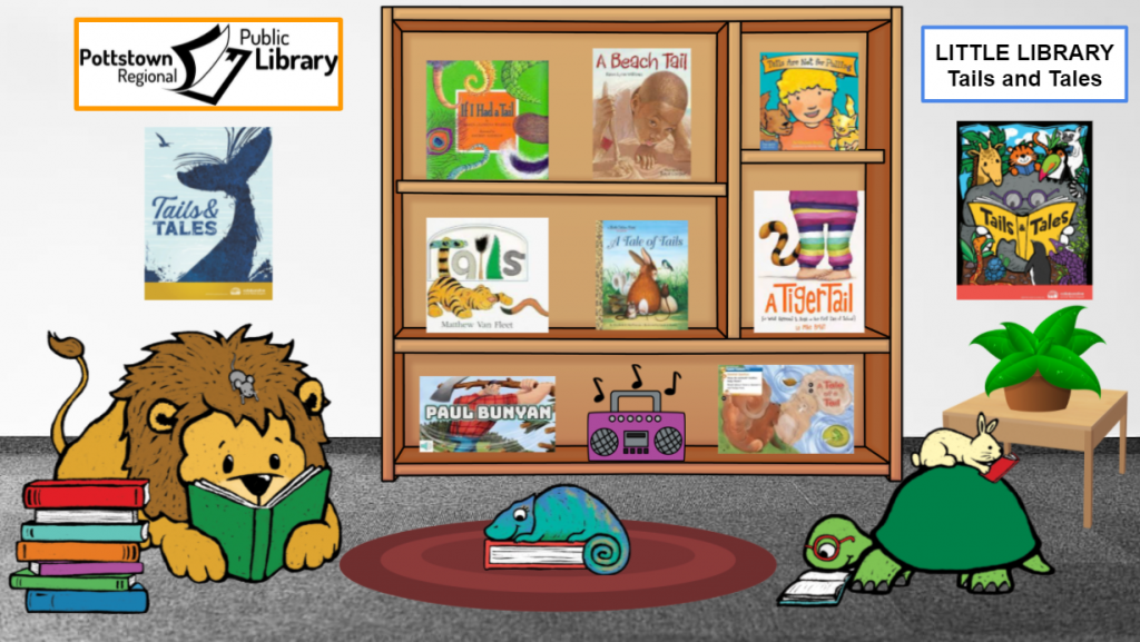 Little Library about the Summer Reading theme Tails and Tales. Image is a link that takes you to a Google Slides presentation.