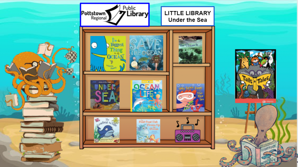 Little Library about under the sea. Image is a link that takes you to a google slides presentation.