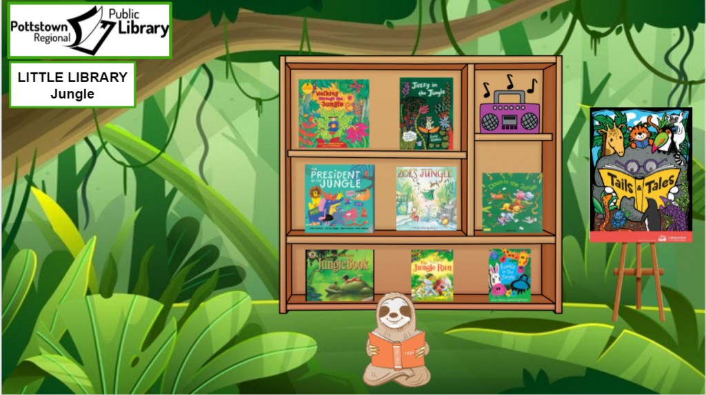 Little Library about the Jungle. Picture is a link that takes you to a google slides presentation about the jungle