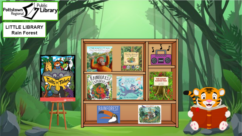 Little Library about the Rainforest. Picture is a link that takes you to a Google Slides presentation about the rainforest.